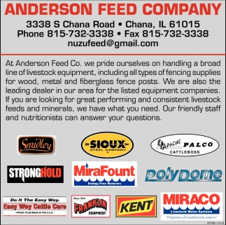 At Anderson Feed Company Co. we Pride Ourselves on Handing a Broad Line of Livestock Equipment
