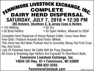 Complete Dairy Herd Dispersal
