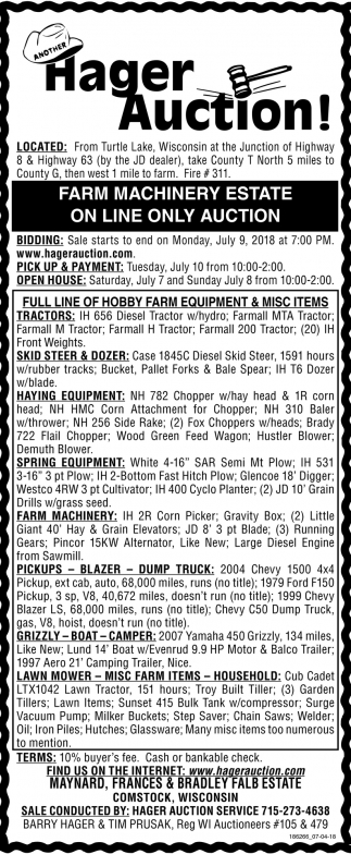 Farm Machinery Estate On Line Only Auction