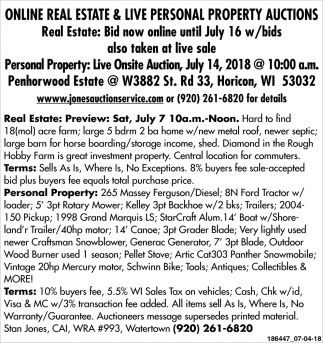 Online Real Estate & Live Personal Property Auctions
