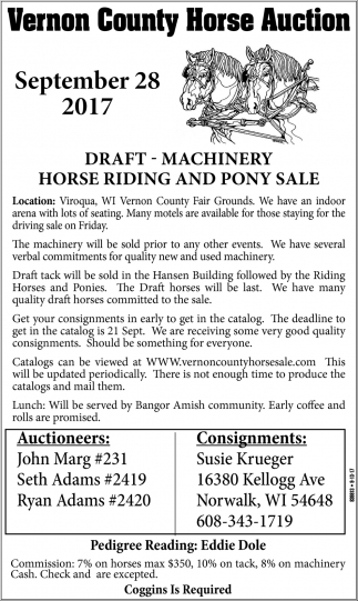 Draft - Machinery Horse Riding and Pony Sale