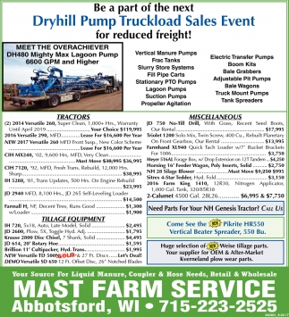 Dryhill Pump Truckload Sales Event
