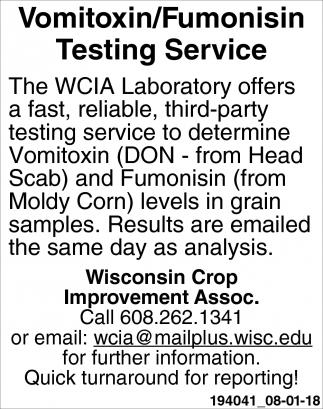 Vomitoxin/Fumonisin Testing Service