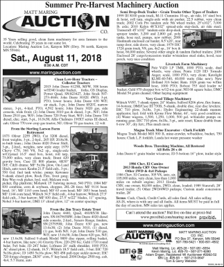 Summer Pre-Harvest Machinery Auction