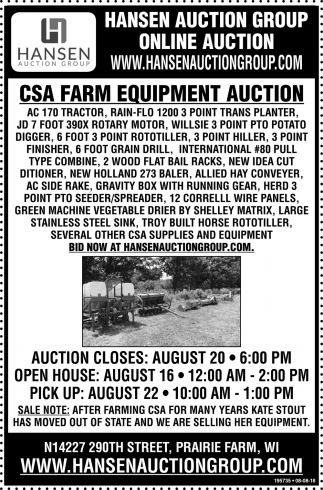 CSA Farm Equipment Auction