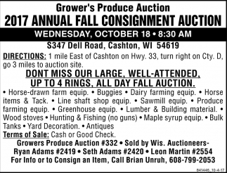 2017 Annual Fall Consignment Auction