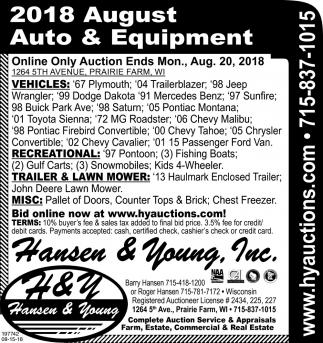 2018 August Auto & Equipment