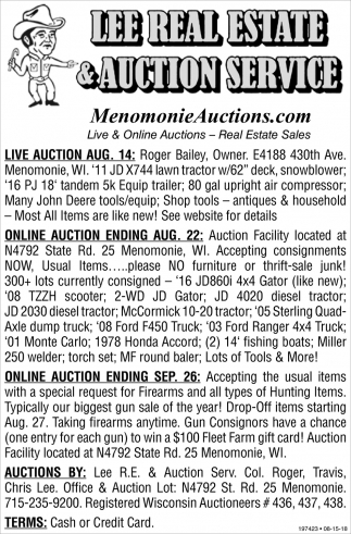 Online Auction Ending Aug. 22