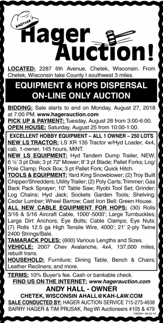 Equipment &Hops Dispersal On-Line Only Auction, Hager