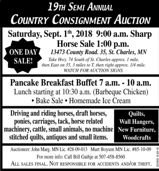 19th Semi Anual Country Consignment Auction