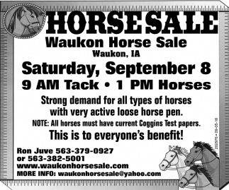 Horsesale on Saturday, September 8