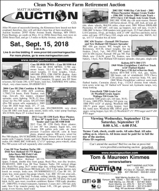 Clean No-Reserve Farm Retirement Auction