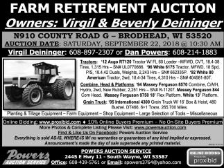 Farm Retirement Auction, Powers Auction Service, South Wayne, WI