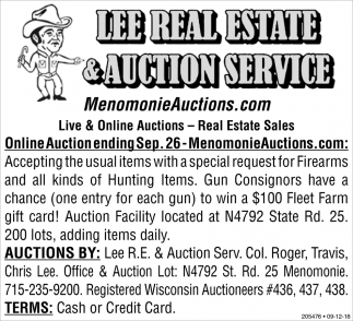 Online Auction Ending Sep. 26