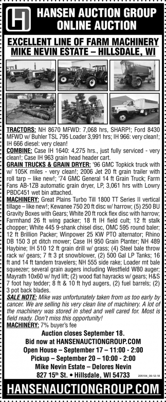 Excellent LLine of Farm Machinery