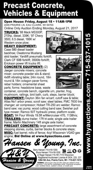Precast Concrete, Vehicles & Equipment