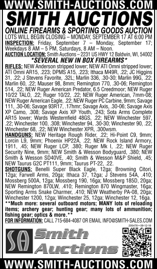 Online Firearms & Sporting Goods Auction