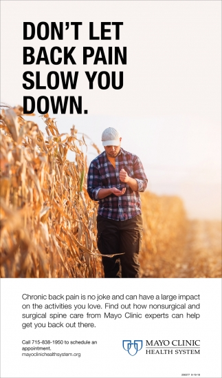 Don't Let Back Pain Slow you Down, Mayo Clinic Health System