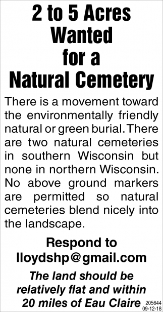 2 to 5 Acres Wanted for a Natural Cemetery