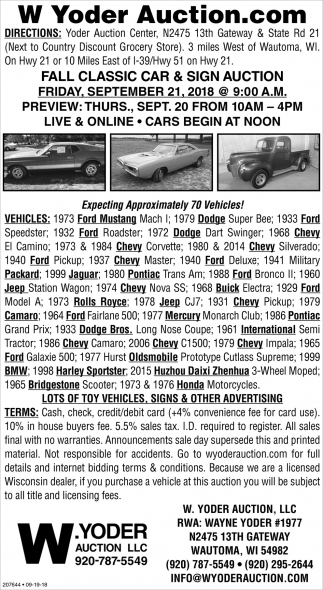 Fall Classic Car & Sign Auction