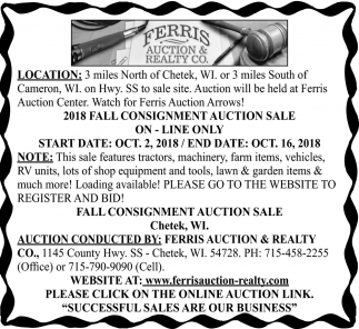 2018 Fall Consignment Auction Sale