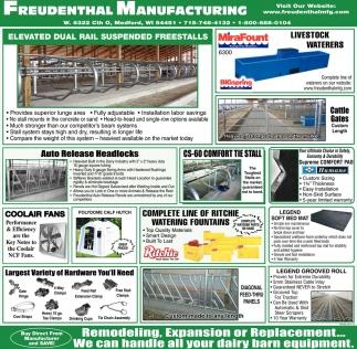 Elvated Dual Rail Suspended Freestalls