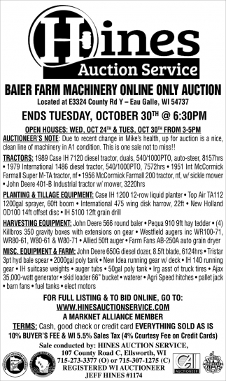 Baier Farm Machinery Online Only Auction