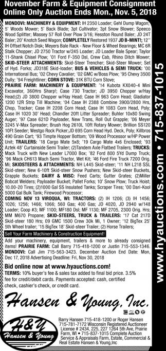 November Farm & Equipment Consignment