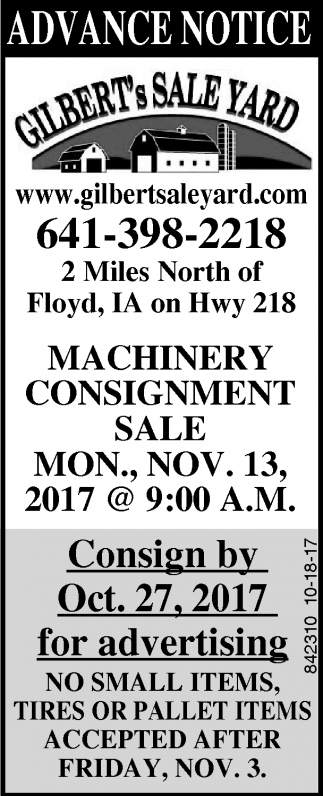 Machinery Cosignment Sale