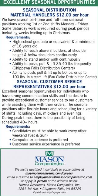 Excellent Seasonal Opportunities