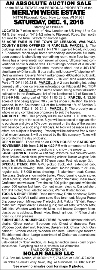 Absolute Auction Sale