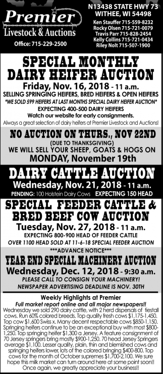 Special Monthly Dairy Heifer Auction