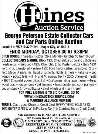 George Peterson Estate Collector Cars and Cars Parts Online Auction