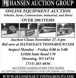 Online Equipment Auction