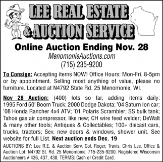 Online Auction Ending Nov. 28