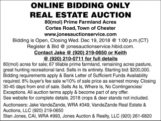 Online Bidding Only