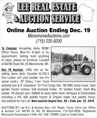 Online Auction Ending Dec. 19