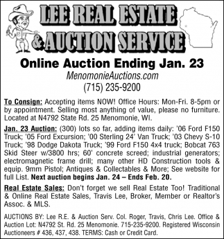 Online Auction Ending Jan. 23