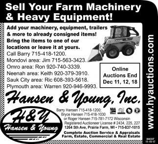 Sell Your Farm Machinery & Heavy Equipment!