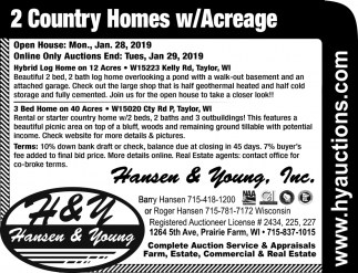 2 Country Homes w/Acreage