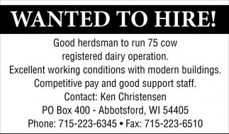 Wanted to Hire!