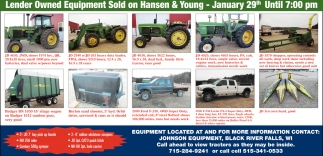 Lender Owned Equipment Sold on Hansen & Young