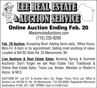 Online Auction Ending Feb. 20