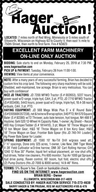 Excellent Farm Machinery On-Line Only Auction