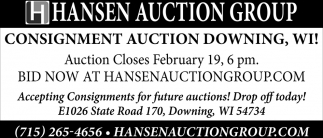 Consignment Auction Downing, WI!