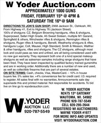 W. Yoder Auction