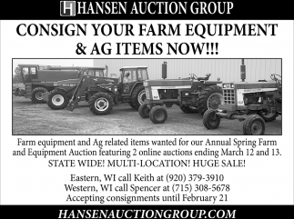 Consign Your Farm Equipment & AG Items Now!