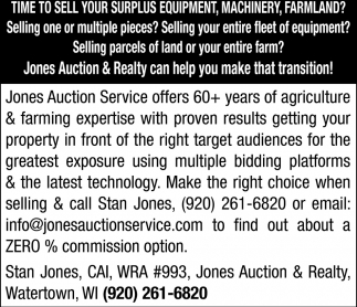 Time to Sell Your Surplus Equipment, Machinery, Farmland?