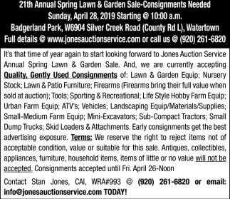 21th Annual Spring Lawn & Garden Sale-Consignments Needed