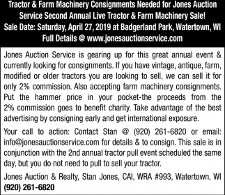 Tractor & Farm Machinery Consignments Needed for Jones Auction